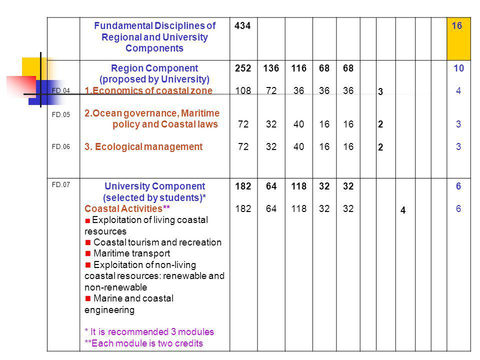 Fundamental Disciplines of Regional and University Components FD.04 FD.05 FD.06 Region Component (proposed by University) 1.Economics of coastal zone 2.Ocean governance, Maritime policy and Coastal laws 3.