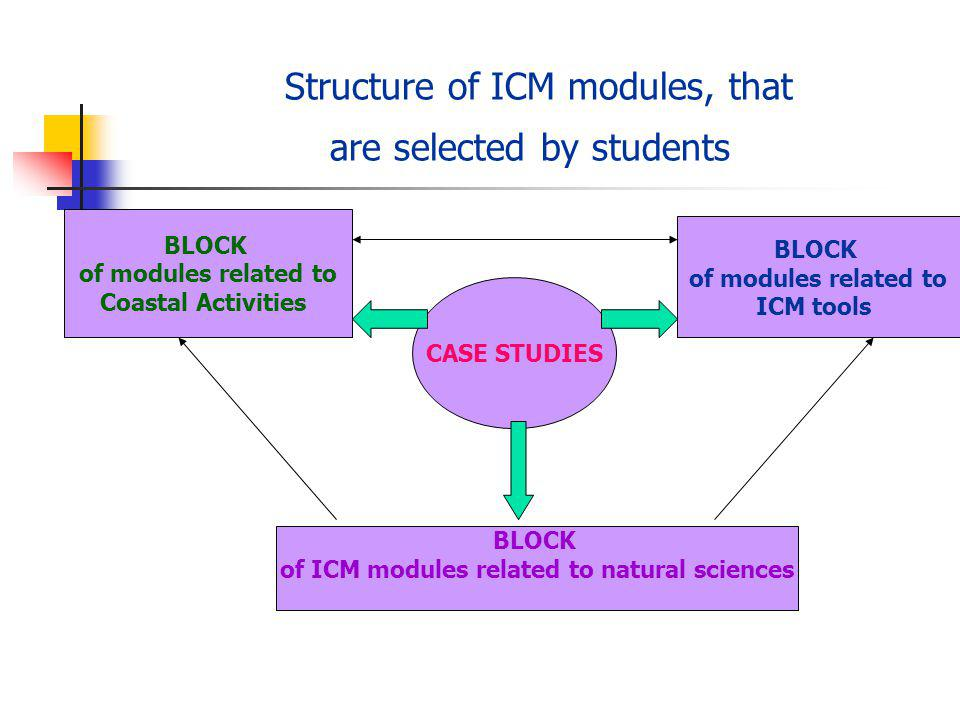 Structure of ICM modules, that are selected by students BLOCK of ICM modules related to natural sciences BLOCK of modules related to ICM tools BLOCK of modules related to Coastal Activities CASE STUDIES