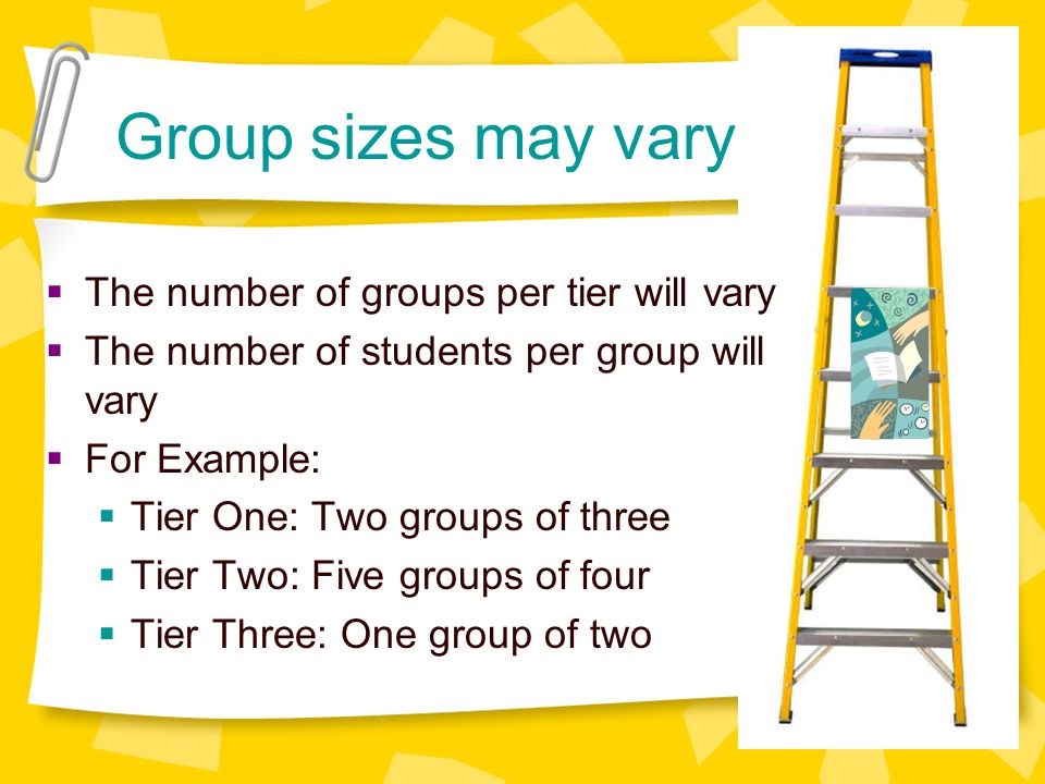 Group sizes may vary The number of groups per tier will vary The number of students per group will vary For Example: Tier One: Two groups of three Tier Two: Five groups of four Tier Three: One group of two