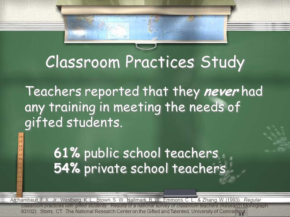 Classroom Practices Study Teachers reported that they never had any training in meeting the needs of gifted students.