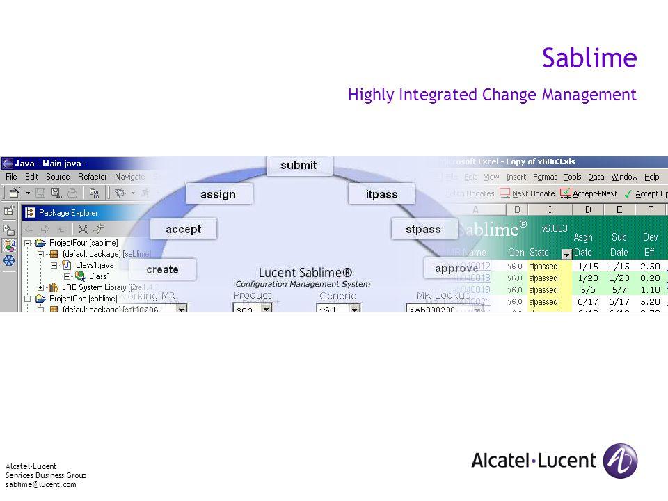 Sablime Highly Integrated Change Management Alcatel-Lucent Services Business Group sablime@lucent.com