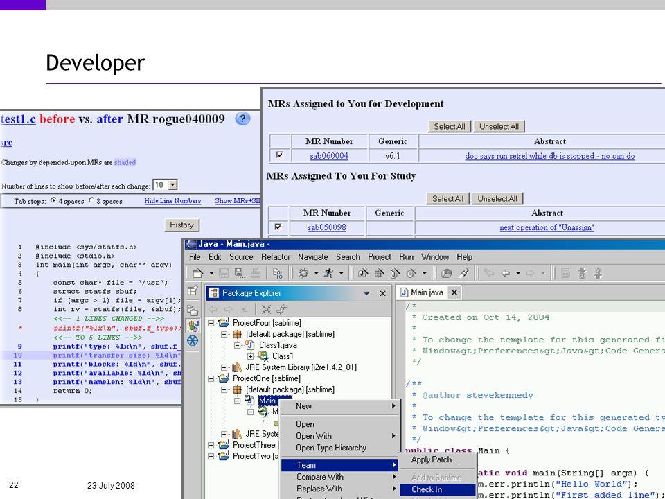23 July 2008 22 Developer
