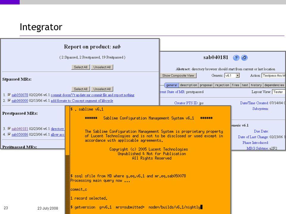 23 July 2008 23 Integrator