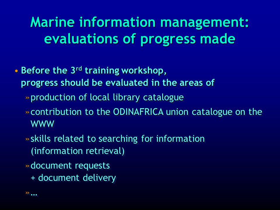 Marine information management: 2 nd training workshop: photos