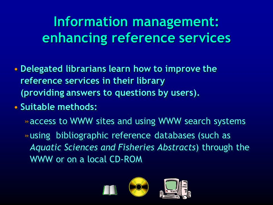 Information management: implementing and using an ILMS Inmagic DB/Textworks is available with a suitable database structure with files forInmagic DB/Textworks is available with a suitable database structure with files for »the collection »the users (borrowers) »booksellers… In this way, the local catalogue of the library collection on computer forms the core of an ILMS = Integrated Library Management System to support searching, lending, acquisitions…In this way, the local catalogue of the library collection on computer forms the core of an ILMS = Integrated Library Management System to support searching, lending, acquisitions… Inmagic DB/Textworks is available with a suitable database structure with files forInmagic DB/Textworks is available with a suitable database structure with files for »the collection »the users (borrowers) »booksellers… In this way, the local catalogue of the library collection on computer forms the core of an ILMS = Integrated Library Management System to support searching, lending, acquisitions…In this way, the local catalogue of the library collection on computer forms the core of an ILMS = Integrated Library Management System to support searching, lending, acquisitions…