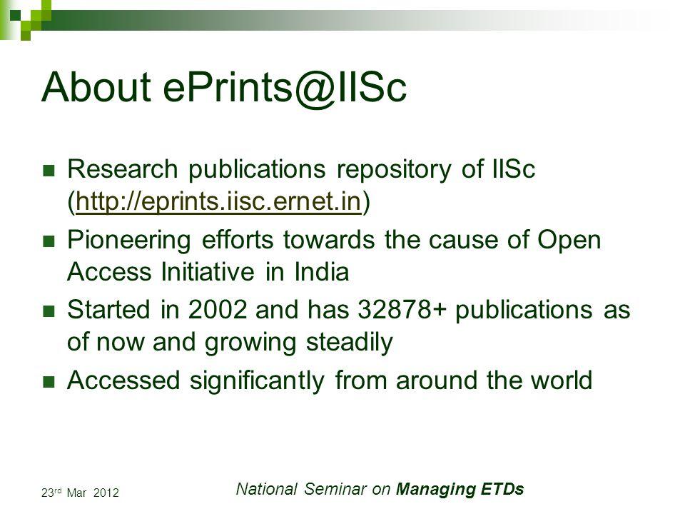 23 rd Mar 2012 National Seminar on Managing ETDs Challenges Always Self Archiving Archiving back volumes of ETD Proper metadata tagging