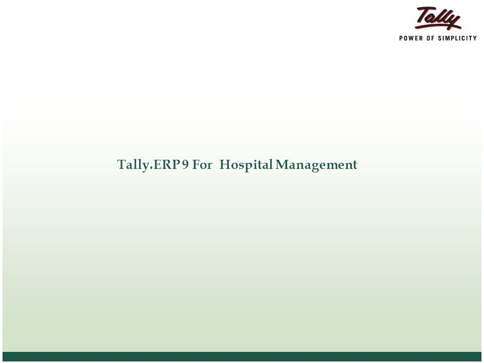 Tally.ERP 9 For Hospital Management