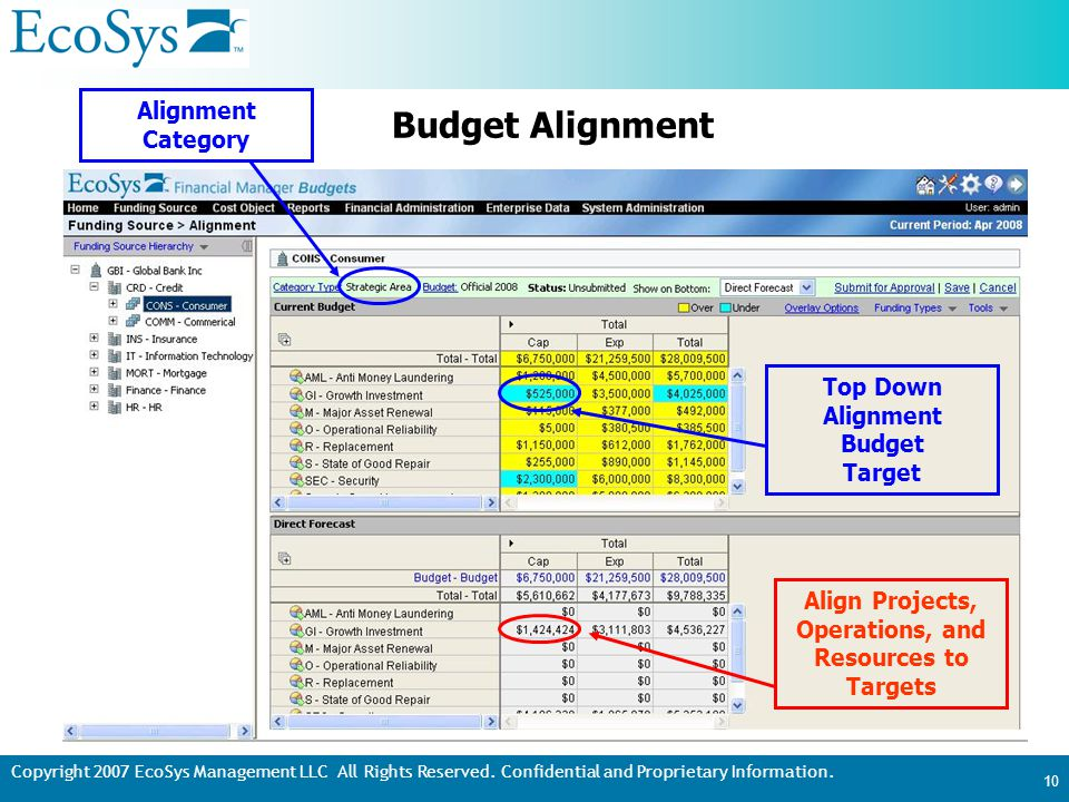 Copyright 2007 EcoSys Management LLC All Rights Reserved. Confidential and Proprietary Information. 10 Budget Alignment Alignment Category Top Down Al