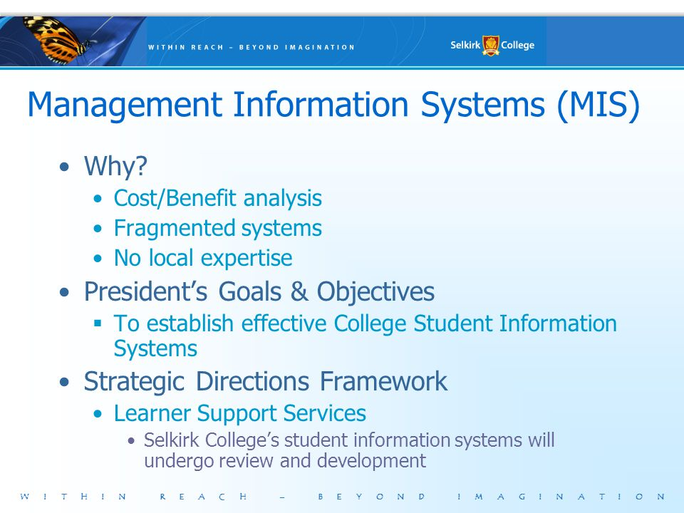 WITHIN REACH – BEYOND IMAGINATION Management Information Systems (MIS) Why? Cost/Benefit analysis Fragmented systems No local expertise Presidents Goa
