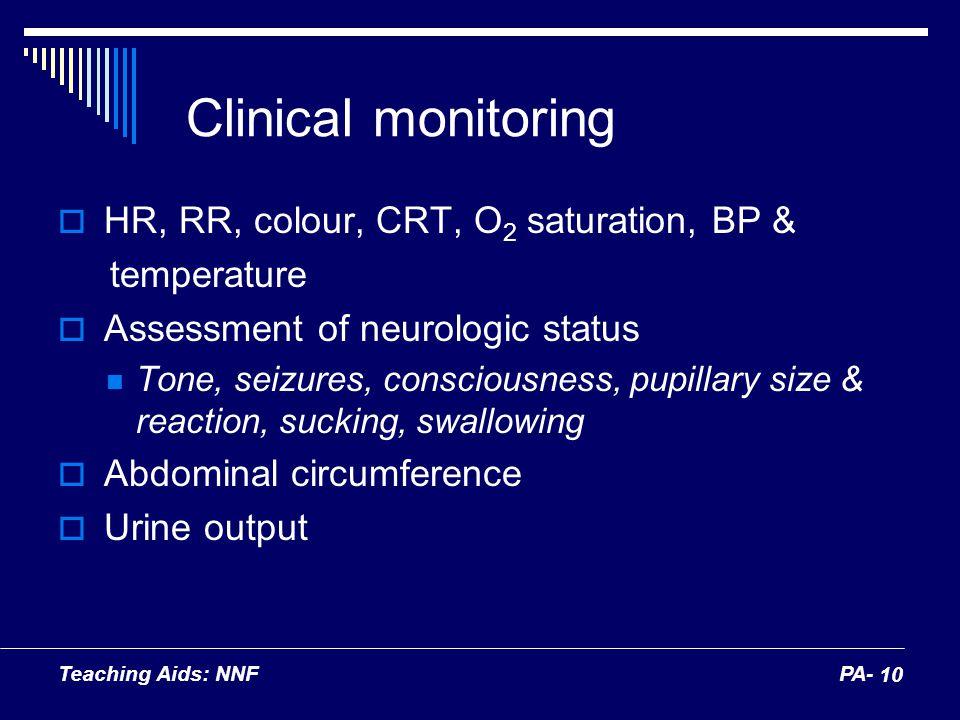 Teaching Aids: NNFPA- 10 Clinical monitoring HR, RR, colour, CRT, O 2 saturation, BP & temperature Assessment of neurologic status Tone, seizures, con