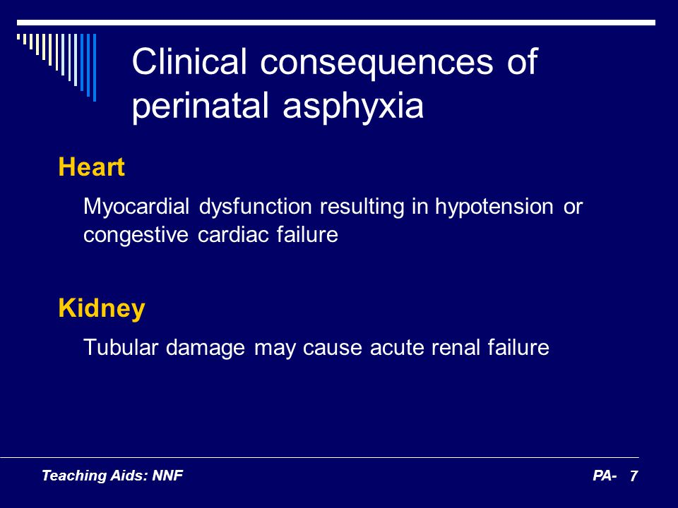 Teaching Aids: NNFPA- 7 Clinical consequences of perinatal asphyxia Heart Myocardial dysfunction resulting in hypotension or congestive cardiac failur