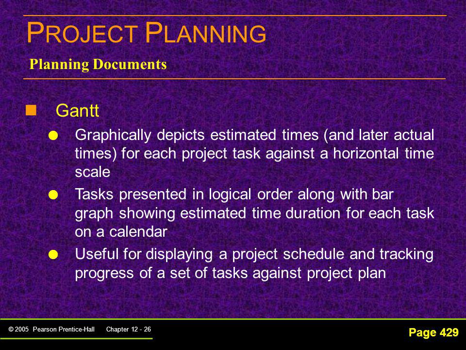 © 2005 Pearson Prentice-Hall Chapter 12 - 26 P ROJECT P LANNING Page 429 Planning Documents Gantt Graphically depicts estimated times (and later actua
