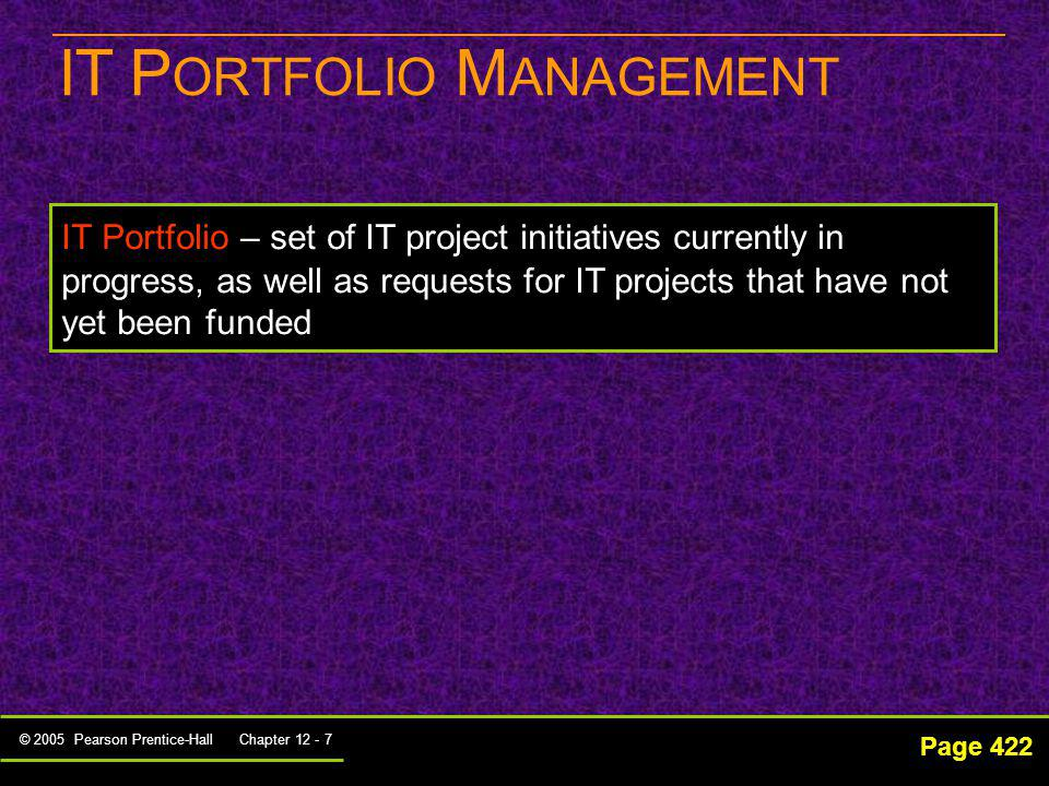 © 2005 Pearson Prentice-Hall Chapter 12 - 7 IT P ORTFOLIO M ANAGEMENT Page 422 IT Portfolio – set of IT project initiatives currently in progress, as