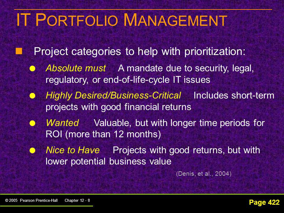 © 2005 Pearson Prentice-Hall Chapter 12 - 8 IT P ORTFOLIO M ANAGEMENT Page 422 Project categories to help with prioritization: Absolute must A mandate