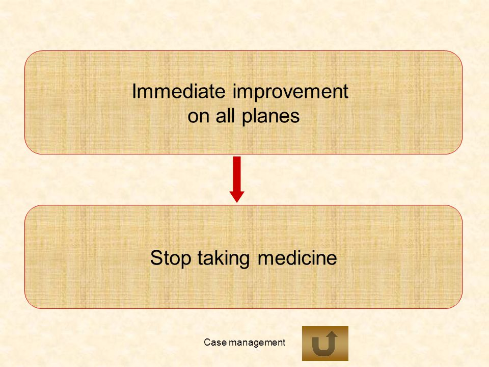 Case management Immediate improvement on all planes Stop taking medicine