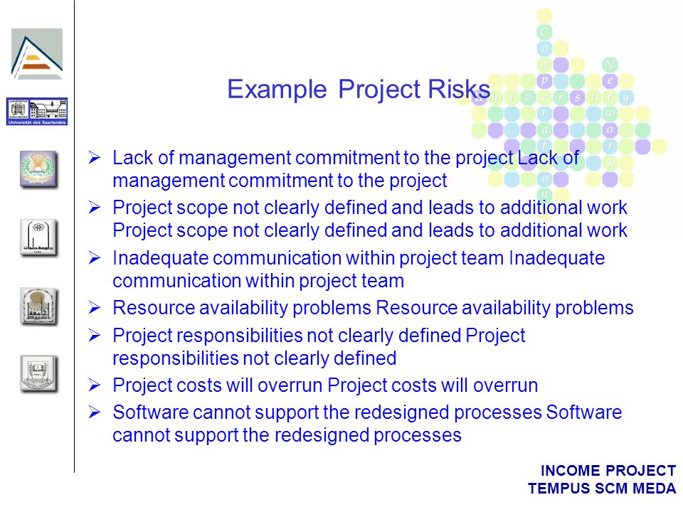 INCOME PROJECT TEMPUS SCM MEDA Risk Management Framework Picture of project characteristics Identify key risk areas to manage Project team members participate in risk planning Assess the chance of risk or failure Determine risk categories Prioritise risks Develop strategies to reduce to acceptable level Establish Risk Register to record and track risks Perform periodic reassessment of risks