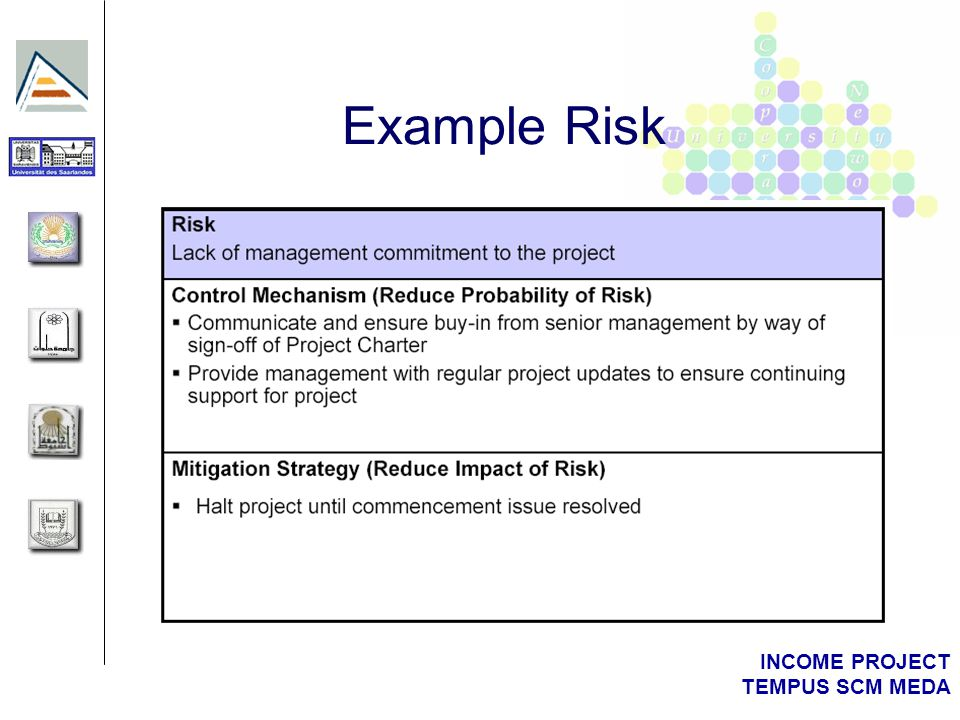 INCOME PROJECT TEMPUS SCM MEDA Example Risks and Approaches to Mitigation