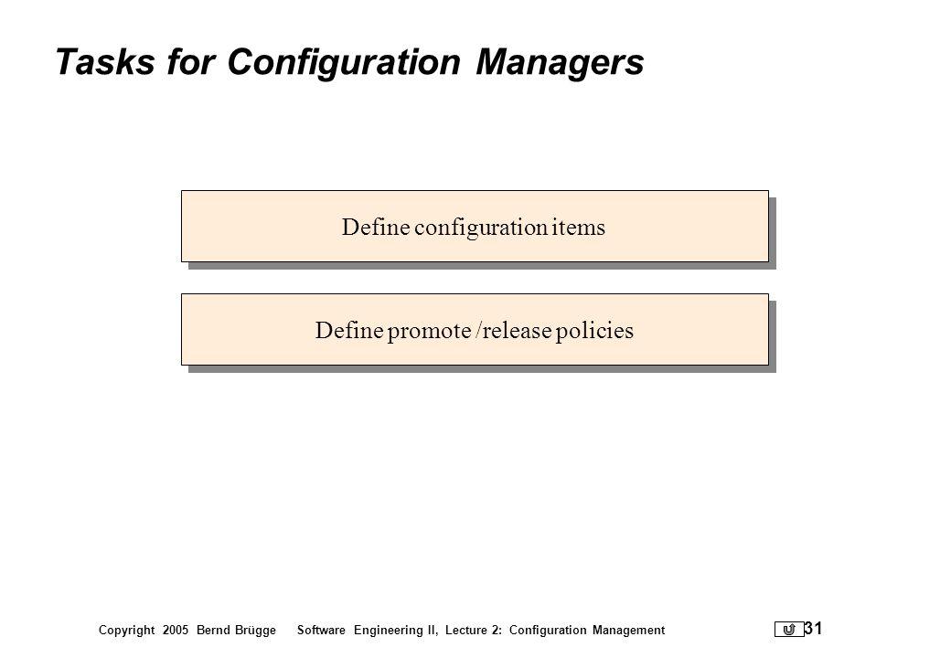 Copyright 2005 Bernd Brügge Software Engineering II, Lecture 2: Configuration Management 31 Tasks for Configuration Managers Define configuration item