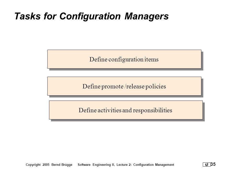 Copyright 2005 Bernd Brügge Software Engineering II, Lecture 2: Configuration Management 35 Tasks for Configuration Managers Define configuration item