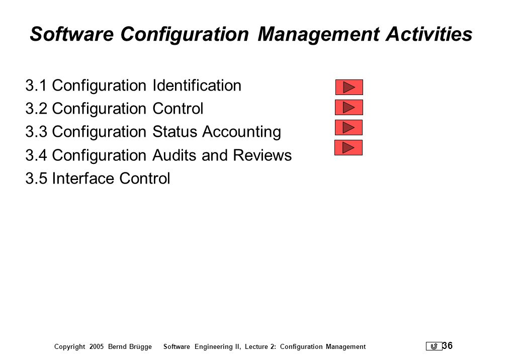 Copyright 2005 Bernd Brügge Software Engineering II, Lecture 2: Configuration Management 36 Software Configuration Management Activities 3.1 Configura