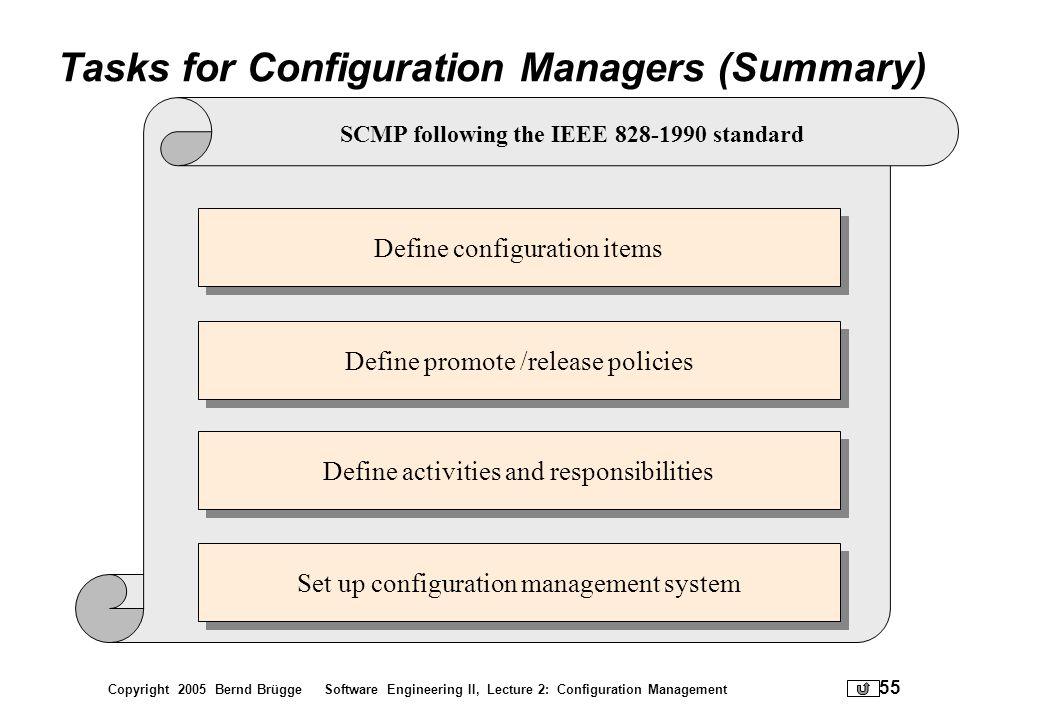 Copyright 2005 Bernd Brügge Software Engineering II, Lecture 2: Configuration Management 55 Tasks for Configuration Managers (Summary) Define configur