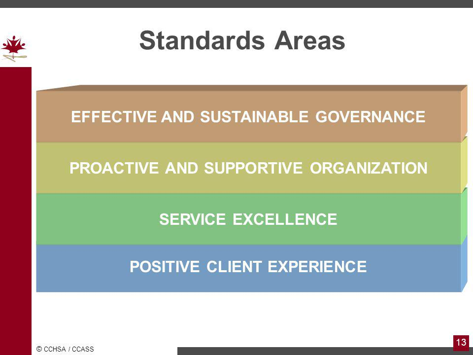 © CCHSA / CCASS 13 Standards Areas POSITIVE CLIENT EXPERIENCE SERVICE EXCELLENCE PROACTIVE AND SUPPORTIVE ORGANIZATION EFFECTIVE AND SUSTAINABLE GOVERNANCE