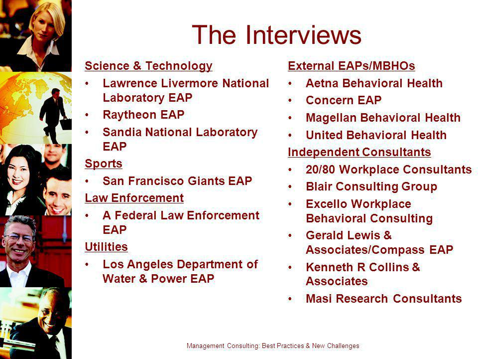 Management Consulting: Best Practices & New Challenges The Interviews Science & Technology Lawrence Livermore National Laboratory EAP Raytheon EAP San