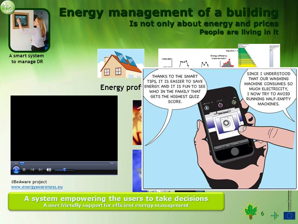 6 A smart system to manage DR Energy profile Inhabitants needs Weather conditions A system empowering the users to take decisions A user friendly support for efficient energy management A system empowering the users to take decisions A user friendly support for efficient energy management ©E3SoHo project www.e3soho.eu ©BeAware project www.energyawareness.eu Energy management of a building Is not only about energy and prices People are living in it