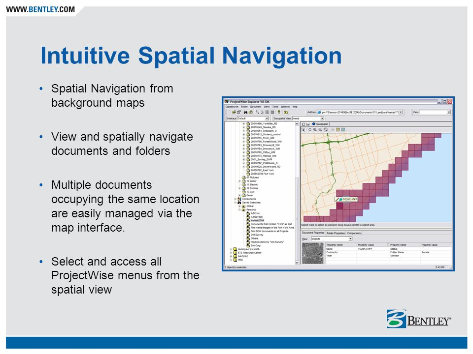 Intuitive Spatial Navigation Spatial Navigation from background maps View and spatially navigate documents and folders Multiple documents occupying th