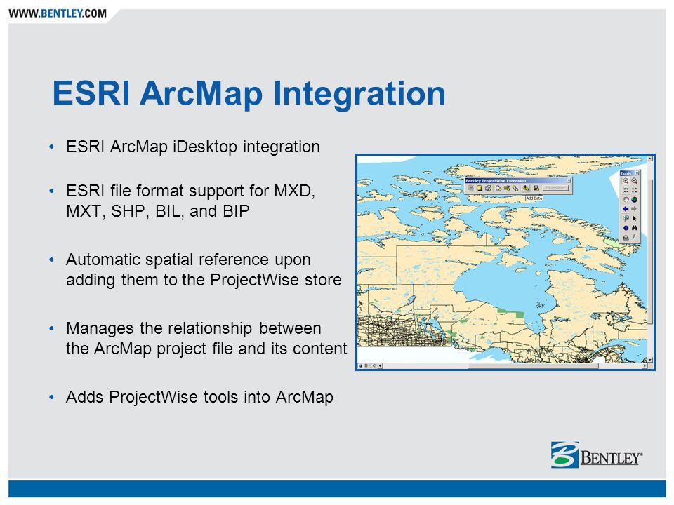 ESRI ArcMap Integration ESRI ArcMap iDesktop integration ESRI file format support for MXD, MXT, SHP, BIL, and BIP Automatic spatial reference upon add