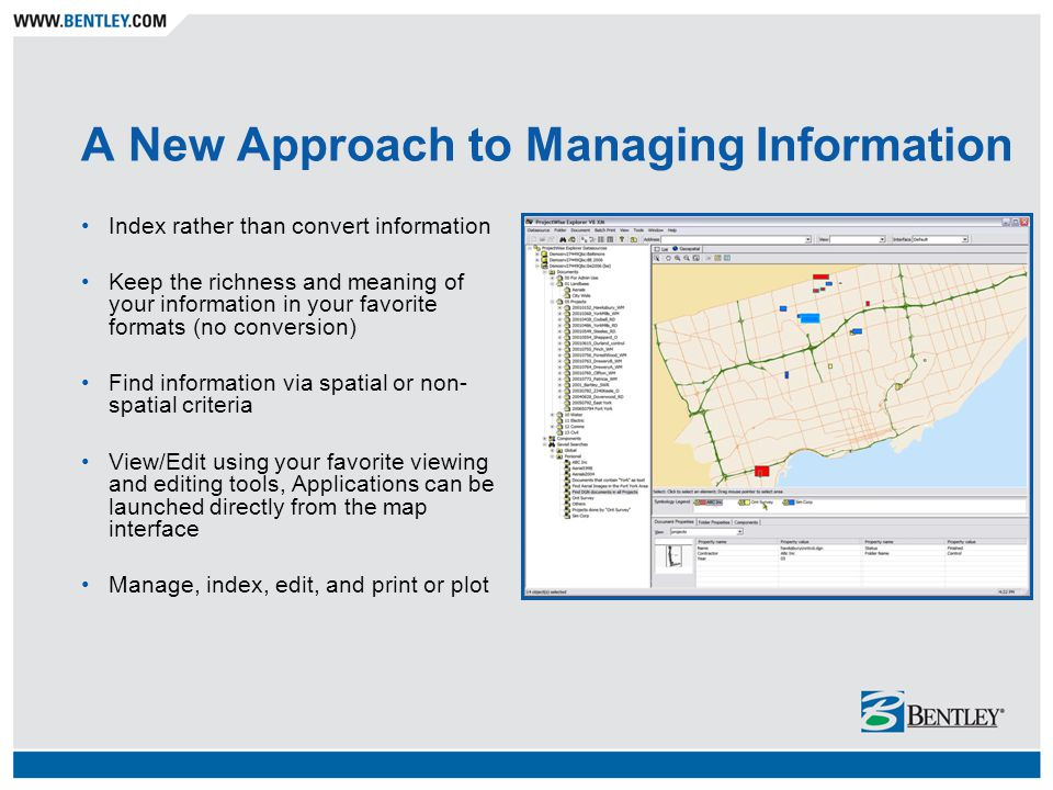 Enabling ProjectWise Users with the Power of Place Bentley Geospatial Management
