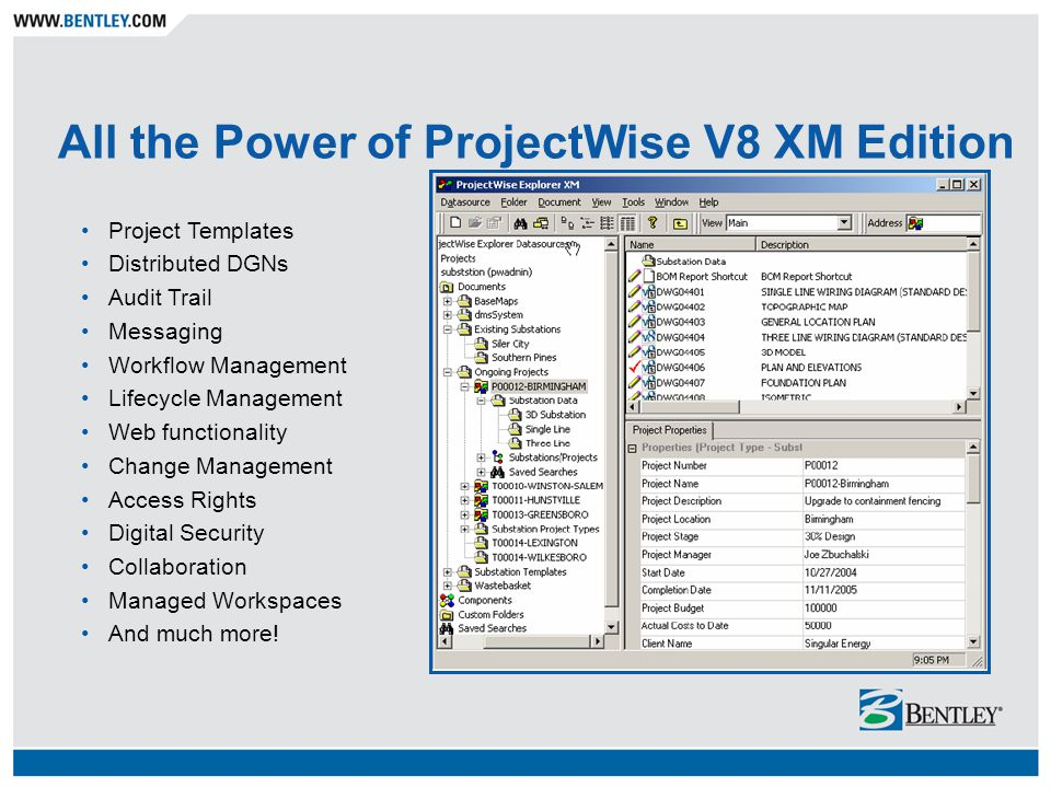 All the Power of ProjectWise V8 XM Edition Project Templates Distributed DGNs Audit Trail Messaging Workflow Management Lifecycle Management Web funct
