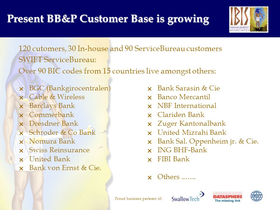 Proud business partners of:: Present BB&P Customer Base is growing BGC (Bankgirocentralen) Cable & Wireless Barclays Bank Commerbank Dresdner Bank Schroder & Co Bank Nomura Bank Swiss Reinsurance United Bank Bank von Ernst & Cie.