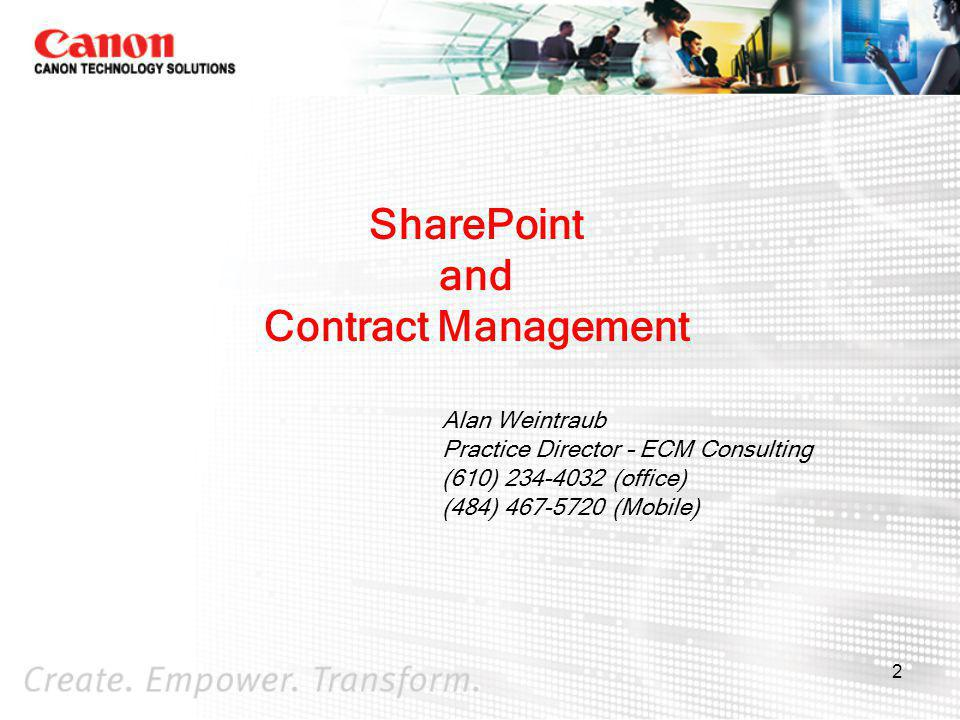 3 Agenda What is SharePoint MOSS 2007 Contract Management Wrap-up and Questions