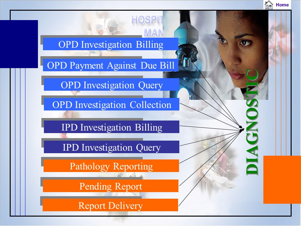 DIAGNOSTIC D I A G N O S T I C Report Delivery Pending Report Pathology Reporting IPD Investigation Query IPD Investigation BillingOPD Investigation CollectionOPD Investigation QueryOPD Payment Against Due BillOPD Investigation Billing