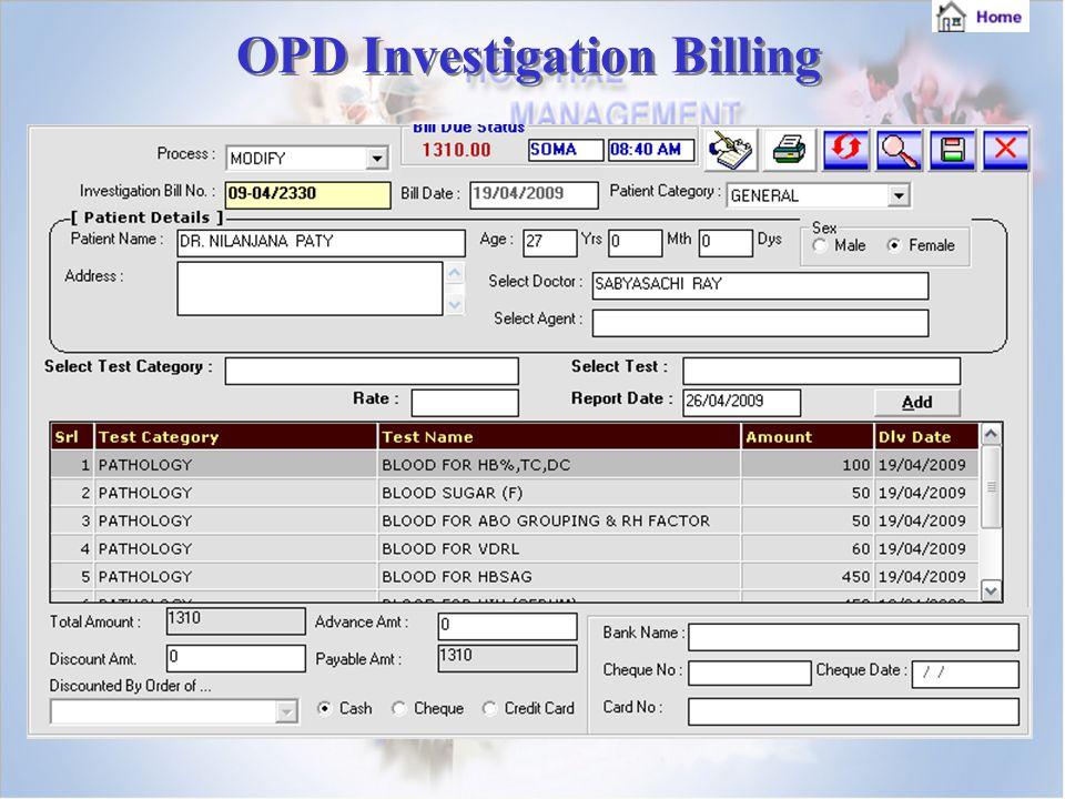 OPD Investigation Billing