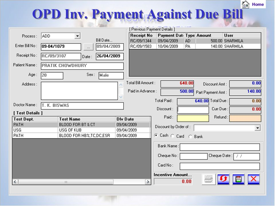 OPD Inv. Payment Against Due Bill OPD Inv. Payment Against Due Bill