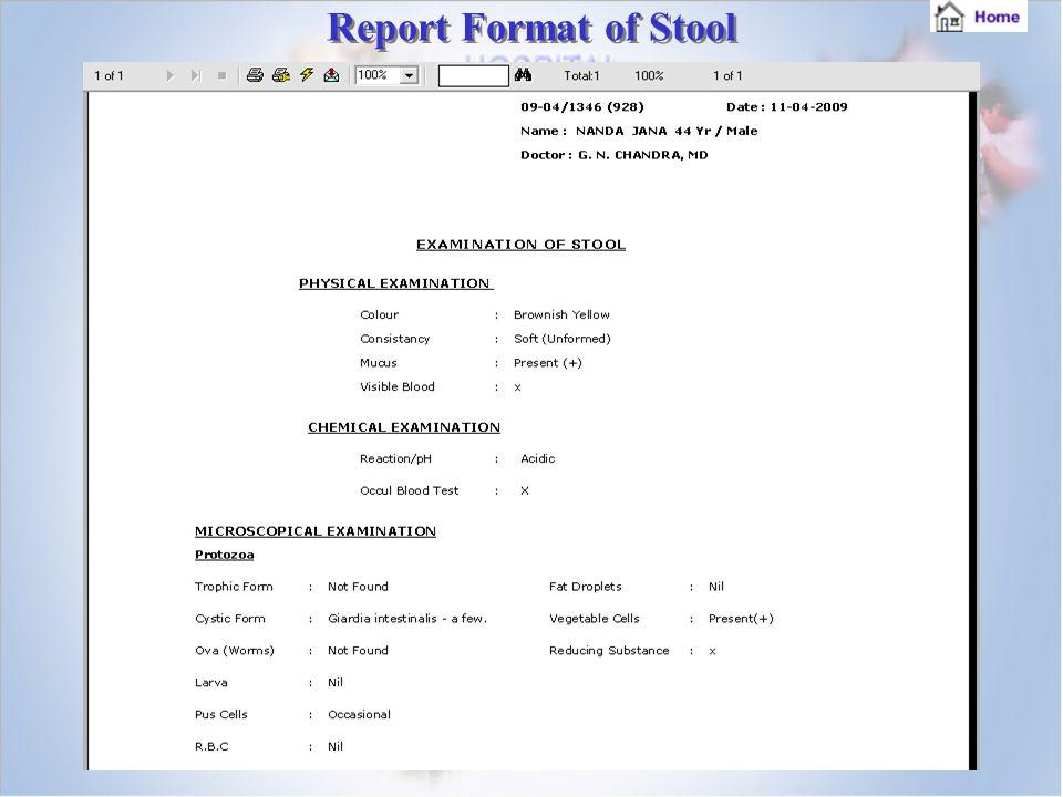 Report Format of Stool