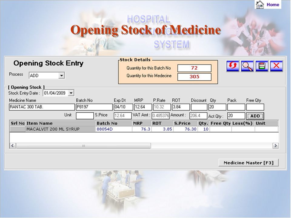 Opening Stock of Medicine Opening Stock of Medicine