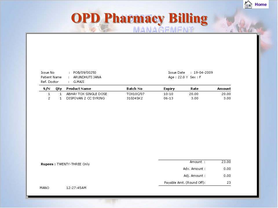 OPD Pharmacy Billing OPD Pharmacy Billing
