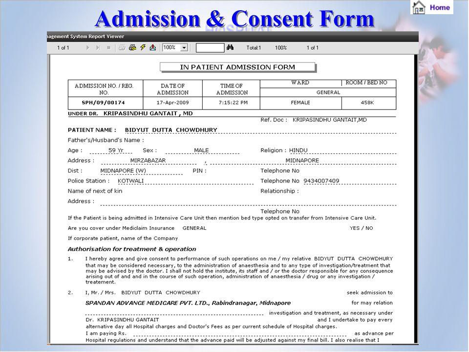 Admission & Consent Form Admission & Consent Form