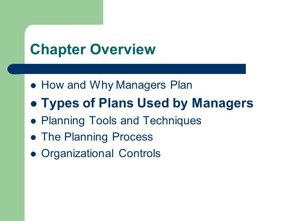 Types of Plans Used By Managers Short-Range vs.Long Range Strategic vs.