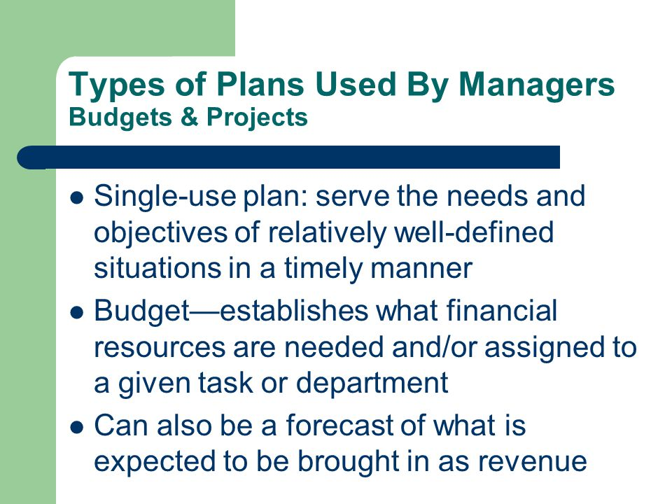 Types of Plans Used By Managers Budgets & Projects Projecta one time activity with a clear beginning and end point, designed to achieve a specific outcome – The building of a school/community centre – The development of a software program Project management ensures that the right resources (money/people) are assigned and that the right tasks are done in a timely manner