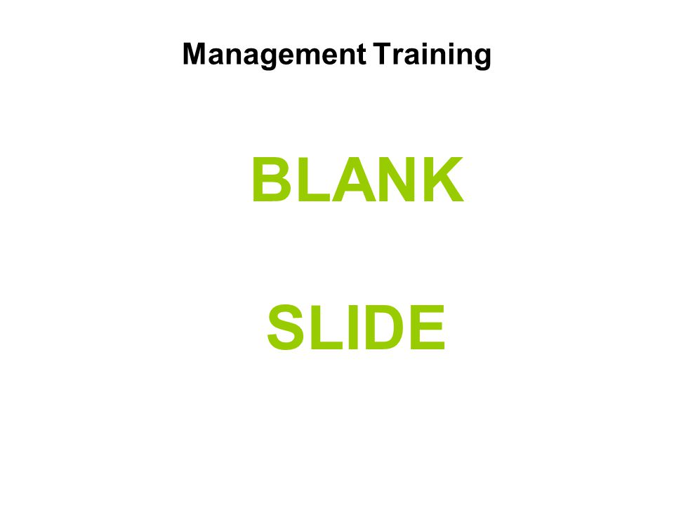Management Training BLANK SLIDE