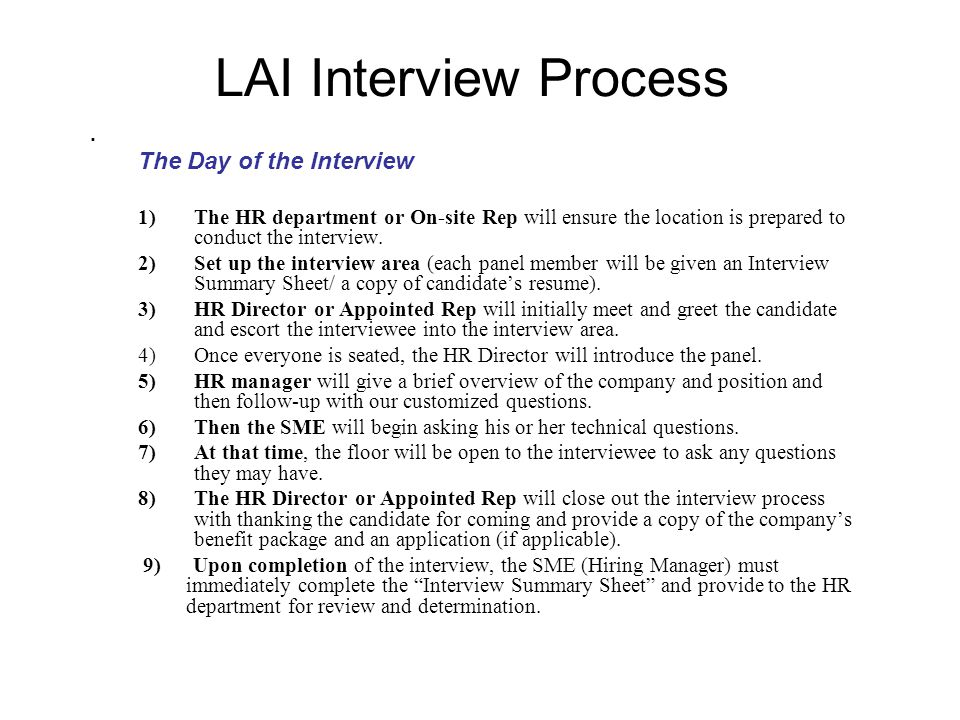 LAI Interview Process.