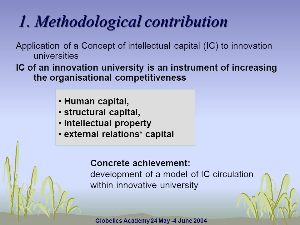 Human capital, structural capital, intellectual property external relations capital 1.
