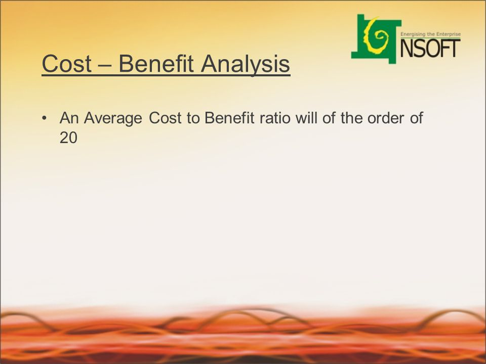 Cost – Benefit Analysis An Average Cost to Benefit ratio will of the order of 20