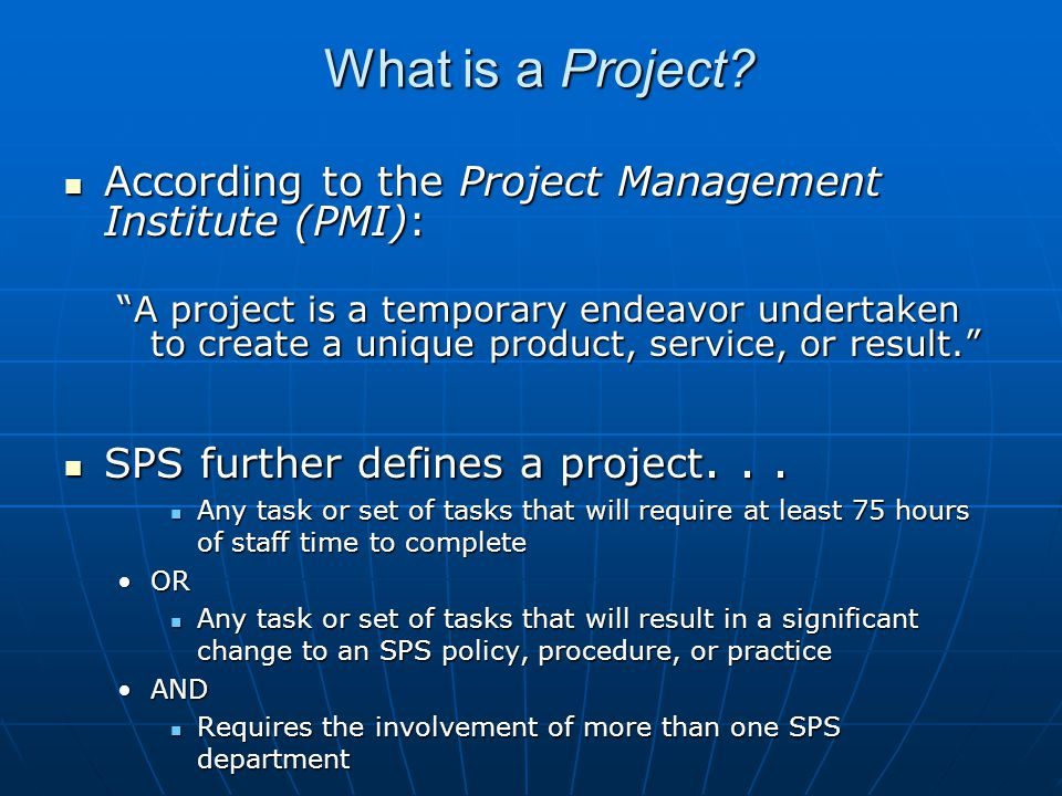 How does a Project differ from Operational Work.