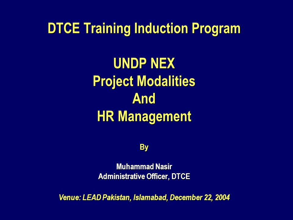 PART – I Project Cycle Operation Manual (PCOM) & National Execution Modalities
