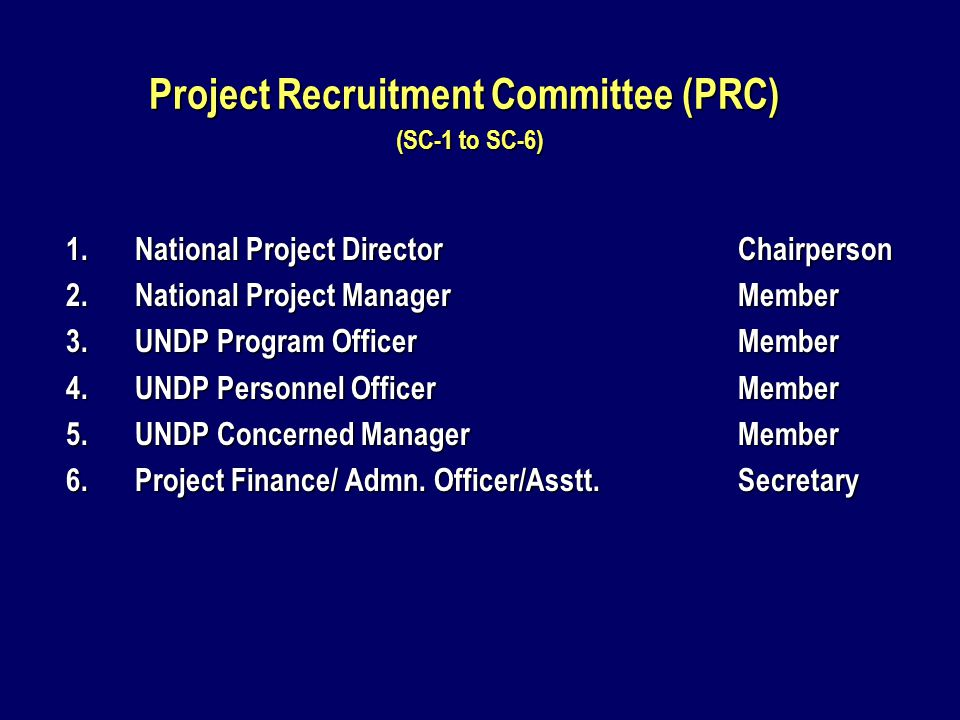 Project Recruitment Committee (PRC) (SC-1 to SC-6) 1.National Project DirectorChairperson 2.National Project ManagerMember 3.UNDP Program OfficerMember 4.UNDP Personnel OfficerMember 5.UNDP Concerned ManagerMember 6.Project Finance/ Admn.